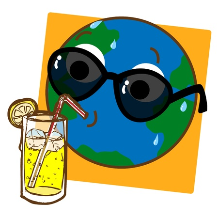 hot temperature: A cartoon like stylized illustration of the planet Earth drinking ice cold lemonade  Illustration