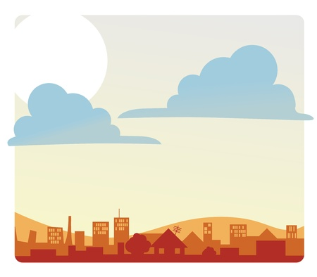 A bright sunny morning sky over a city  Illustration