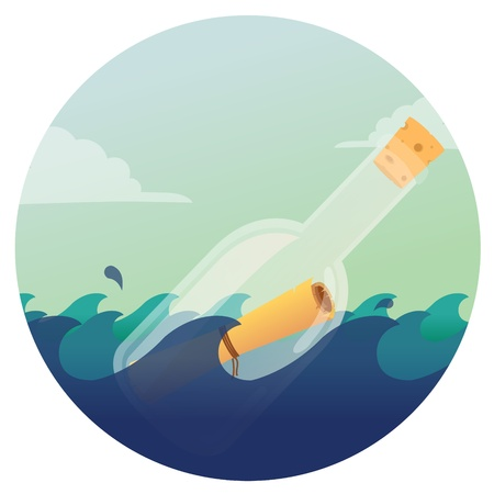 castaway: A transparent glass bottle containing a message floating in the sea  Illustration