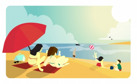 lotion: People enjoying a sunny day at the beach  Illustration