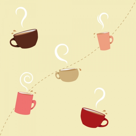 coffee: A seamless pattern of pastel colored coffee cups  Illustration