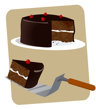 A delicious black-forest chocolate layered cake with one slice on a serving spatula  Illustration