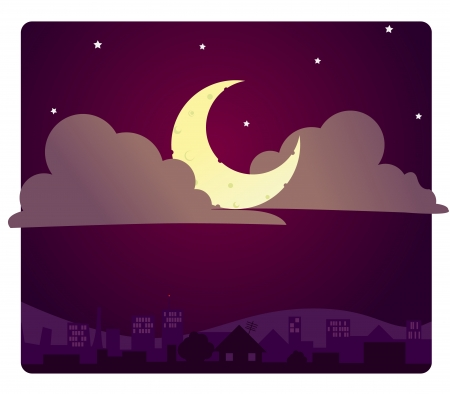 A starry night sky over a city  Stock Vector - 19055009