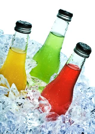 Close up view of the bottles in ice Stock Photo