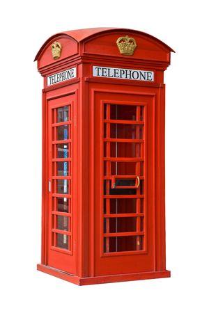 De Britse rode telefoon cel op wit wordt geïsoleerd
