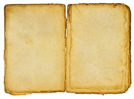 Vintage libro aperto con sfumature morbide su bianco