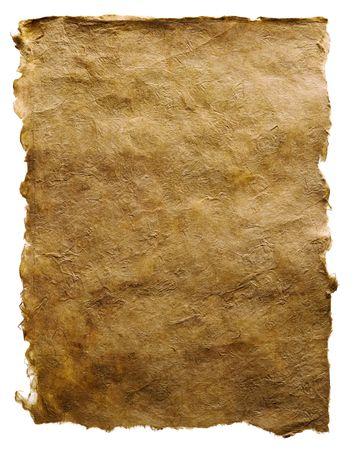 vieux papier brun isolé sur la page blanche