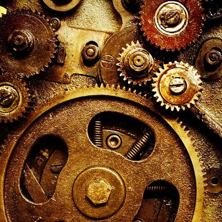 close up view of gears from old mechanism Фото со стока