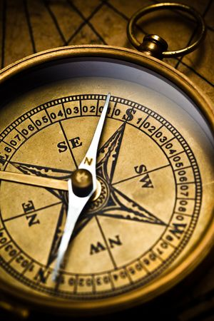 Close up view of the compass on old paper Stock Photo - 4593049