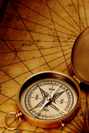 Close up view of the compass on old paper Stock Photo - 4593059