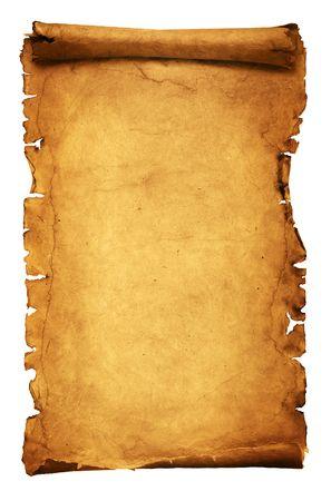 Manuscrito antiguo aislado sobre un fondo blanco Foto de archivo