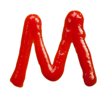 isolated Letter of ketchup alphabet on white Stok Fotoğraf