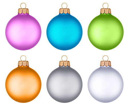 Six different colored christmas balls hanging from golden thread, Stock Photo - 6019786
