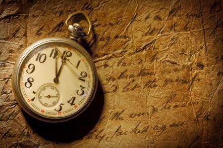 Vintage Taschenuhr und alte handgeschriebene persönlichen Brief