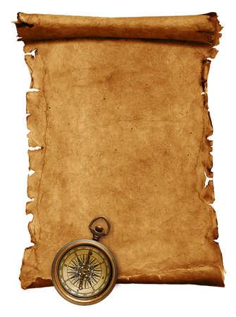 pergamino: Antiguo desplazamiento de papel, aislado en blanco  Foto de archivo