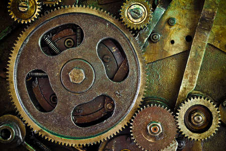 close up view of gears from mechanism  photo