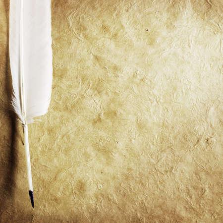 pluma de escribir antigua: Pluma sobre un fondo del formulario vac�o para la letra