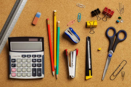 Close up view of the office tools on cork board Stock Photo - 7478688