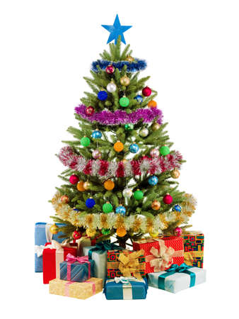 colorful lights: Christmas fir tree with colorful lights and decorations.