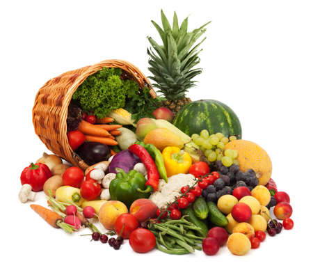 Fresh Vegetables, Fruits and other foodstuffs. Isolated photo