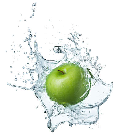 under water: Green apple under water with a trail of transparent bubbles. Stock Photo
