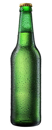 cold beer bottle with water droplets on surface photo