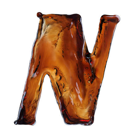 alphabet letter: Splash of cola in the form of letters Stock Photo
