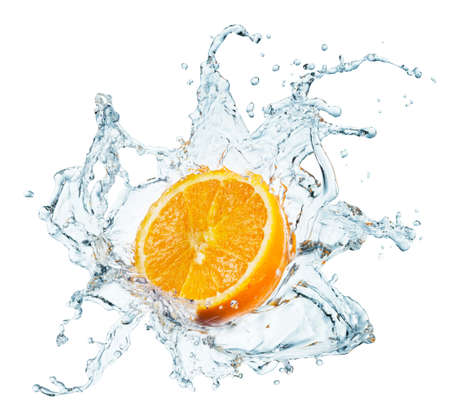 refreshed: A background of splash forming after orange is dropped into it.