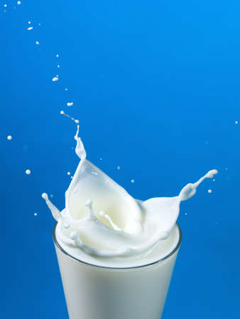 pouring milk in a glass isolated against blue background photo