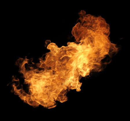 fire element: Burning flame or fire isolated on black background Stock Photo