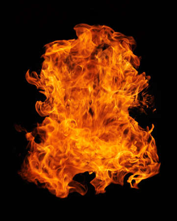 Burning flame or fire isolated on black background Stock Photo