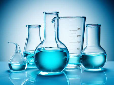 Assorted laboratory glassware equipment ready for an experiment in a science research lab Stock Photo - 7523980