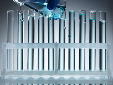 laboratory glassware equipment ready for an experiment in a science research lab Stock Photo