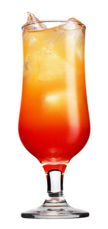 Tequila sunrise Cocktail isolated on a white backgroun photo