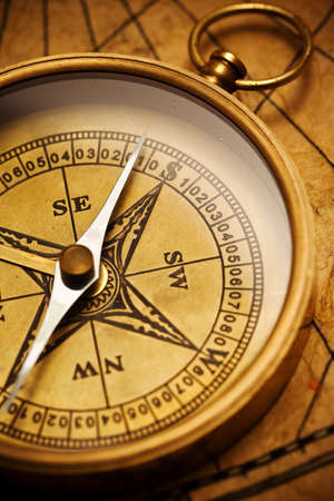 Close up view of the compass on old paper Stock Photo - 7614025