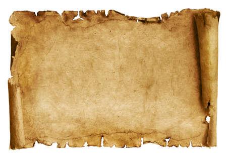 고대: 양피지 배경의 빈티지 롤에 격리 된 화이트