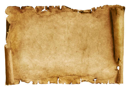 Vintage roll of parchment background isolated on white Imagens