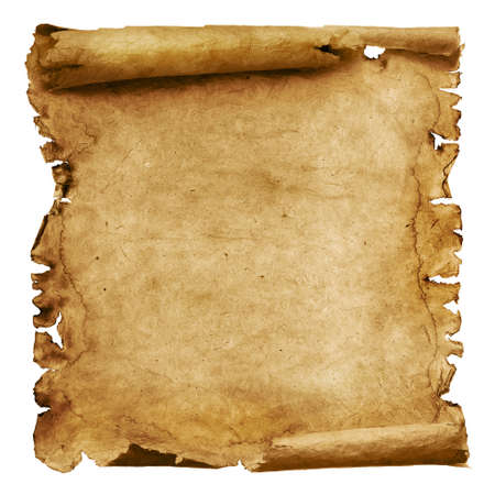 Vintage roll of parchment background isolated on white Banco de Imagens
