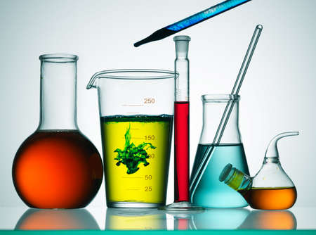 scientific experiment: Assorted laboratory glassware equipment ready for an experiment in a science research lab