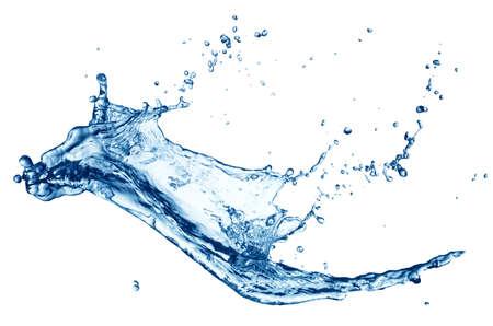 Blue water splash geïsoleerd op witte achtergrond