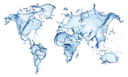 water colour: blue water splash (world map) isolated on white background