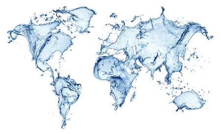 blue water splash (world map) isolated on white background photo