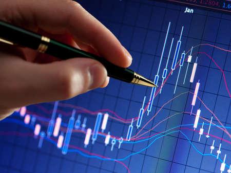hart: Сhart on computer monitor, markets climbing, hand and pen pointer