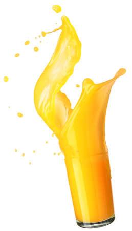 verre jus orange: �claboussures de jus d'orange isol� sur blanc Banque d'images