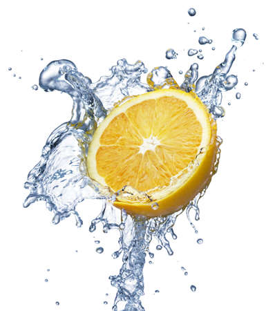lemon water: A background of bubbles forming in blue water after lemon is dropped into it Stock Photo