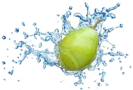 pear in spray of water. Juicy pear with splash on white background Stock Photo - 7991855