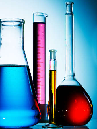 Assorted laboratory glassware equipment ready for an experiment in a science research lab Stock Photo - 7991943