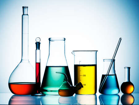 Assorted laboratory glassware equipment ready for an experiment in a science research lab Stock Photo - 7992051
