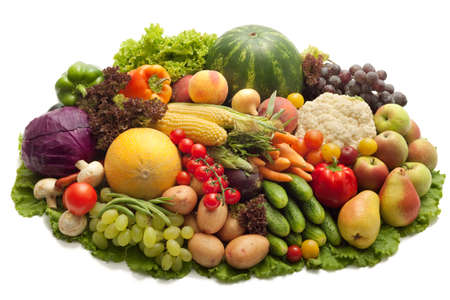 Fresh Vegetables, Fruits and other foodstuffs. Isolated. Stock Photo - 7992000