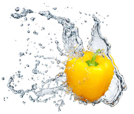 on white pepper: Pepper in spray of water. Juicy peach with splash on white background